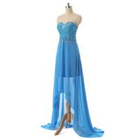 ingrosso fanno il vestito dalla fasciatura-Light Blue Hi-Lo 2017 Nuovo arrivo A-Line Prom Dress Senza spalline senza maniche Lunghezza del pavimento in chiffon Bandage In rilievo personalizzato abito da sera dolce