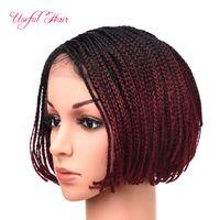 Wholesale cheap short blonde wigs - Brazilian blonde wigs 6inch 18inch 14inch bob wigs for black women synthetic lace front wigs short lace front wig cheap braids