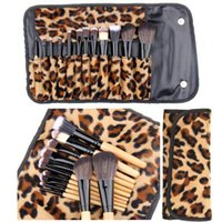 Wholesale Leopard Makeup Kit - Makeup Brush Set 12 PCs Brush Cosmetic Facial Make Up Set tools With Leopard Bag Cosmetic Tool Beauty Brushes Leopard Bag Free Shipping