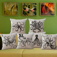 Cotton Line squid pillow - Decorative throw pillow pillow cover case black squid octopus cotton linen cushion cover for sofa home decor funda cojines x45