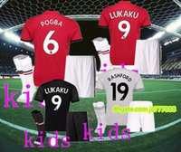 Wholesale Youth Rooney Jersey - 2017 2018 Kids kits+socks POGBA home away 3rd soccer jersey 17 18 youth UNiTed LUKAKU MARTIAL ROONEY RASHFORD child shirt Football jersey