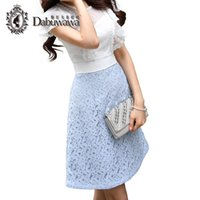 Wholesale Women Fashionable Mini Dresses - Dabuwawa Sexy Hollow Out White Lace Dress Women Summer Sundress O-Neck Short Sleeve Mini A-Line Fashionable Princess Dresses D17BDR214