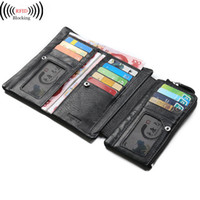 Wholesale Man Wallet Pouch Coin - Wholesale- Men Black Genuine Leather Three Fold Clutch Purses Wallets Coin Phone Pouch ID Credit Cards Holder Dollar Price Package Carteira