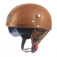 Wholesale Motorcycle Motorbike Rider Half Open Face PU Leather Helmet Visor With Collar Leather vintage Motorcycle Motorbike Vespa