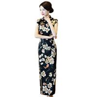 ingrosso vestito lungo dal cheongsam cinese nero-Shanghai Story Black Qipao Long Abito cinese Flower Print cinese Abito tradizionale Abito orientale Cinese cheongsam delle donne