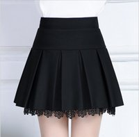 Wholesale High Waist Safety Pant - High Popular A Line satin Skirt with Safety pants Lace Mini Lace Skirts For Women Lady Girls Elasticity Waist Length 40cm