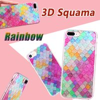 Wholesale Iphone Scales - Rainbow Color Colorful 3D Scales Squama Bling Glitter Shining Sparkle Crystal Clear Soft TPU Case Cover for iPhone 8 7 Plus 6 6S 5 5S DHL