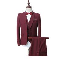Wholesale Men Wine Dressing Wedding - Wholesale- 2016 new spring High quality wine Single Button casual suit men,blazer wedding dress,Business Suit(Jackets+vest+Pants)M-6XL