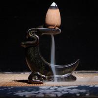 Wholesale incense holders wholesale - Wholesale- New Backflow Buddha Ceramic Incense Burner Holder Buddhist Sandalwood Cones