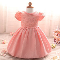 Wholesale 12 Months Birthday Party Dress - Wholesale- Newborn Baby Dresses Girls Christening Gown Princess Infant 1 Year Birthday Party Dress Kids Vestidos 3 6 9 10 12 18 24 Months