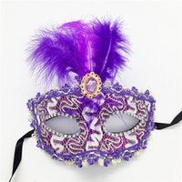 halloween tüy göz maskeleri toptan satış-Yeni Kadın Dantel Seksi maske Yortusu Venedik göz maskesi masquerade Cadılar Bayramı maskeleri ile tüy doğum günü Cadılar Bayramı prenses dans ...