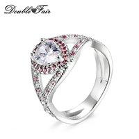 imitação anéis de noivado ouro branco venda por atacado-Branco Banhado A Ouro Gota de Água Imitação de Cristal Moda Anéis de Noivado Para As Mulheres Presente Jóias Por Atacado DFR602