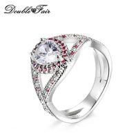 ingrosso anelli di fidanzamento imitazione anello bianco-Oro bianco placcato goccia d'acqua cristallo imitazione di moda anelli di fidanzamento per le donne regalo gioielli all'ingrosso DFR602
