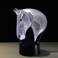 Wholesale pumpkin head light for sale - Group buy Horse Head D Optical Illusion Lamp Night Light DC V USB Charging th Battery Dropshipping