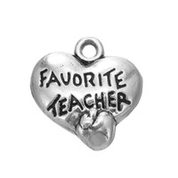 Wholesale Vintage Teacher - Online Wholesale Vintage Favorite Teacher Stamped On Heart Shape Charms With Apple Raised For Teacher's Day AAC147