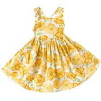 Wholesale Cotton Dress Styles Western - Everweekend Girls Summer Floral Dress Halter Backless Orange Dress Ruffles Princess Party Dresses Western Fashion Children Dress