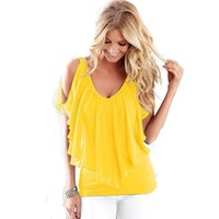 Wholesale Europe Top Women - 2017 Plus Size Women Chiffon Blouses Sexy Summer Blouse With V-Neck Europe America Women Clothing Chiffon Shirt Tops