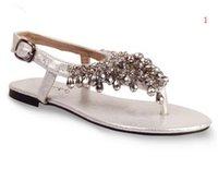 Wholesale Ladies Beaded Shoes Black - Vokoklk Summer Fashion Women Rome Beaded Rhinestone Flat Sandals,Ladies Flowers Flip Flops Bohemian Beach Shoes Black Silver