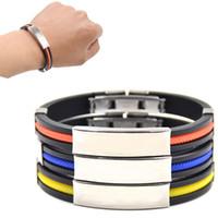 Wholesale Men Titanium Rubber Bracelet - Newest Fashion Men Titanium Steel Silicone Bracelet Bangtan Boys Fans Support Rubber Stainless Wristband Charm Bracelets Cool Male Jewelry