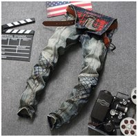 Wholesale Top Dj Lights - New Original Design Top Quality Men's Distressed Jeans Retro Stitching Males Punk Rock DS DJ Personality Street Slim jeans Motorcycle Jeans
