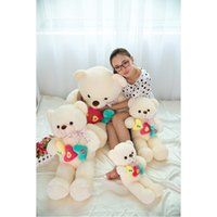 Wholesale Super Large Teddy Bear - 2017New 90cm 105cm Super Large Size Romantic Beautiful Cute Heart To Heart ILU Teddy Bear Plush Toy Home SofaFor Valentine's Day Gift