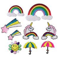 Wholesale Large Rainbow Umbrella - Large high-end custom patchbeads sequins embroidered rainbow umbrella DIY embroidery stickers creative stickers lovely life decals sewing