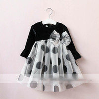 Wholesale Ruffle Collar Dot - Everweekend Girls Tulle Ruffles Dots Bow Pleuche Dress Lovely Kids Black Color Clothes Princess Western Fashion Fall Party Dress