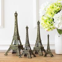Wholesale Eiffel Torre - 15cm 18cm 25cm 30cm height bronze retro style Paris Eiffel Tower souvenir model Torre Eiffel Tower decoration Carrey alloy metal craft gift