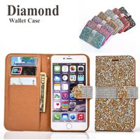 Étui de portefeuille pour iPhone 7 plus brillant Bling Bling Crystal Case de diamant pour iPhone 7 6S SCA246 iPhone