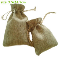 Wholesale Burlap Sacks - Wholesale- 10x15cm Faux jute Hessian Burlap Drawstring sack Bags wedding bomboniera Christmas Gift Packaging bags for Handmade Soap