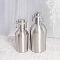 Wholesale Mini Flask Oz - 30tm Stainless Beer Growler Bottle Portable Silver Stoup Insulation Flagon 64 oz 32 oz Beers Growlers Silver Hip Flask Bottles High Quality