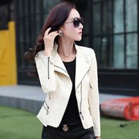 Wholesale Red Leather Biker Jacket Women - New Leather Coat Women Short Biker Jacket Blouson Cuir Femme Women jackets 7WL013