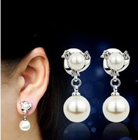 Wholesale Pearl Earrings Sterling Silver Real - 925 Sterling Silver Freshwater Cultured Pearl Drop Earrings AAA Real Pearl Jewellery Hao stone Earrings For Women Large Stocks