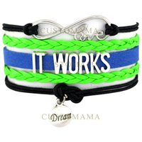 (10 PCS / Lot) Infinity Love It Works Dream Heart Charm Pulseiras para mulheres Men Jewelry Green Black Suede Leather Wrap Bracelets
