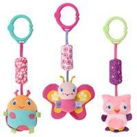 Wholesale Pram Sets - Wholesale- Baby Toys Crib Stroller Toy 0-12 Months Plush Kawii Cartoon Newborn Hanging Baby Rattle Ring Bell Soft Playpen Bed Bell Pram