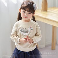 Wholesale Good Quality Kids Hoodie - Fashion sequin swan Girls Clothes Girl Sweater Cotton kids pullover T-Shirt Children Hoodie baby Hoody tops Kids Wear Good quality A799
