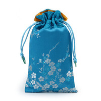 Wholesale Jade Craft Jewelry - jade Cherry blossoms Patchwork Craft Pouch Drawstring Silk Brocade Jewelry Gift Bags Phone Protective Cover Trinket Storage Pocket 9x15 cm