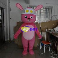 bilder rosa kostüm großhandel-FUMAT Rosa Kaninchen Maskottchen Weihnachten Große Ohren Kaninchen Cartoon Kostüm Weihnachten Geburtstag Neujahr Party Kostüm Bild Anpassung