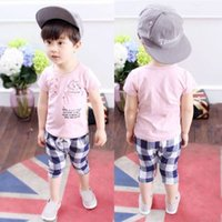 Wholesale New Fashion Baby Wear - 2017 children's wear suits the new 2017 baby boy of spring 1-2-3 years old age of children's summer wear fashion Short sleeve