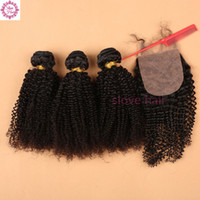 Wholesale Malaysian Curly Silk - 8A Malaysian Virgin Hair With Silk Base Closure Kinky Curly Hair 3 4bundles With Closure Malaysian Virgin human Hair With Silk Base Closure