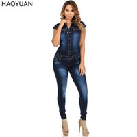 Wholesale Overalls Denim Jeans Shorts - Wholesale- HAOYUAN Fashion Autumn Women Denim Jumpsuit Short Sleeve Bodycon Jeans Rompers Womens Jumpsuit Casual Overalls Bodysuit 2017