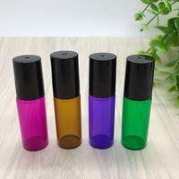 botellas de aceite de perfume de vidrio verde al por mayor-Mezcle 4 colores 5ml Rojo / Púrpura / Verde / Ámbar Botella de vidrio vacía para perfume de aceite esencial 5 ml Botellas de acero inoxidable coloreadas