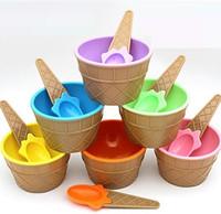 детские чашки для мороженого оптовых-Дети Дети Пластиковые Мороженое Чашки чашки Ложки Набор Прекрасный Десерт Чаша МИНИ Инструменты для Мороженого h101