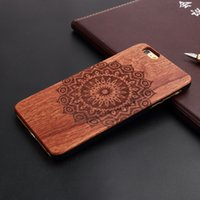 Wholesale Iphone 5s Covers Wood - Full mandala laser engrave wood cell phone cases for iPhone 5 5s 6 6s 7plus 8plus plus x hard plastic back cover original