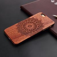 iphone gravé au dos achat en gros de-Mandala complet laser graver cas de téléphone portable en bois pour iPhone 5 5s 6 6s 7plus 8plus plus x couverture arrière en plastique dur d'origine
