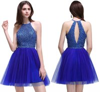 Wholesale Tulle Dresses Only - ONLY $45.9 Real Image Royal Blue Homecoming Dresses 2018 New Tulle Crystals Beaded Sexy Cocktail Dresses Sweet 16 Graduation Dresses CPS536