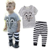 Wholesale Outfit Mouse - 2017 Boys Baby Childrens Clothing Sets Cartoon Mouse T-shirts Striped Pants 2Pcs Set Summer Cotton Toddler Boutique Clothes Outfits