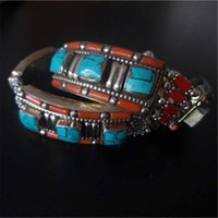 Wholesale Bb Bracelet Gold - Wholesale- BB-472 Tibetan Jewelry Fine Nepal White Metal Copper Inlaid Turquoise Coral Bracelet Bangles 2017
