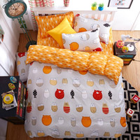 Wholesale Sheets Cats - Wholesale- Home Bedding Sets Kids Cotton 4PCS Bed Sheet Duvet Cover Honey Cartoon American Shorthair Cat (size:king Queen Full)