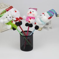 Wholesale Cute Wholesale Snowmen Decor - Cheap 2016 Christmas Decoration Xmas Cute Gift Santa Claus Snowman Deer Elk Bear Doll Ball Pens For Kids Decor 12pcs lot